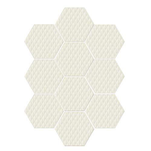(YOLIYANA Ivory Durable Hexagon Ceramic Tile Stickers,Geometric Diamond Triangle Mix Formed Soft Pastel Toned Minimalist Artful Design for Living Room Kitchen,9