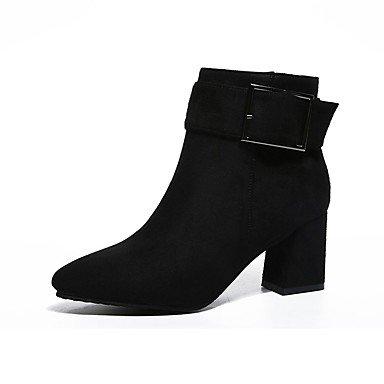 DESY Mujer Zapatos PU Otoño Botas de Combate Botas Tacón Robusto Dedo redondo Cremallera Para Vestido Negro Gris Borgoña black