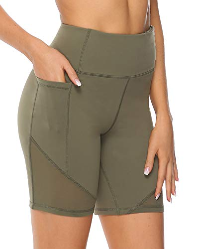 Yoga Shorts for Women Pockets High Waisted Athletic Leggings Tummy Control Spandex Workout Shorts for Running Mesh Stretch Compression Bike Biker Short Army Green -