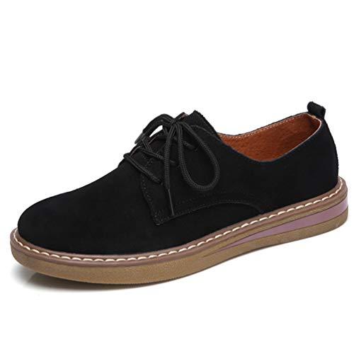 Mujeres Gamuza Pisos Encaje de Flats Toe Zapatos Cuero Barco Invierno Mocasines Zapatos Negro Oxford 989 Zapatos Redondos hasta Mujer otoño Zapatillas vrw1Tgxqv
