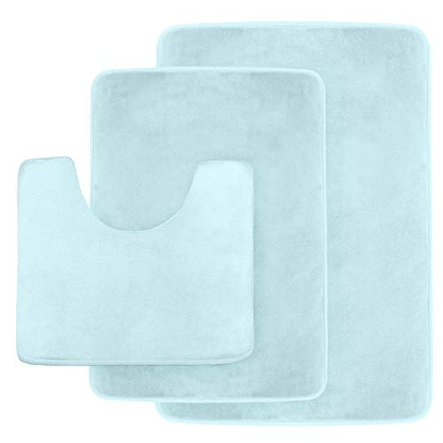 light blue bath rug set - 2