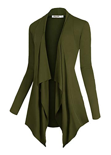 (Lock and Love LL Women's Drape Front Open Cardigan Long Sleeve Irregular Hem S-5XL Plus Size Made in USA XXL Olive)