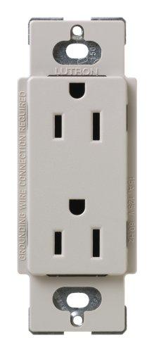 Lutron SCR-15-TP Satin Colors 15A Electrical Socket Duplex Receptacle, Taupe - Duplex Receptacle Plug