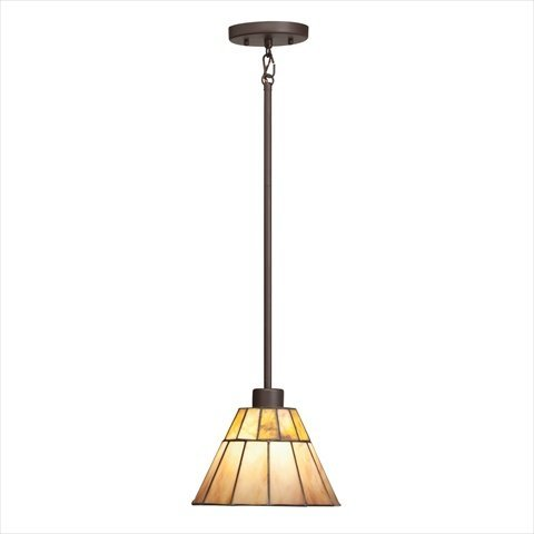 65354 Morton 1LT Mini-Pendant, Olde Bronze Finish with Cut Stone and Art Glass Shade (Olde Iron Outdoor Pendant)