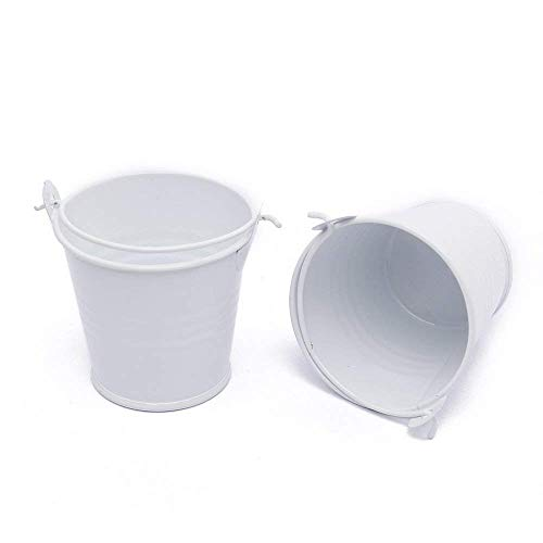 Sruix 12pcs/lot Mini Cute Metal Bucket Chocolate Candy Buckets Box Wedding Party Favor DIY Tin Favor Pails Mini Bucket Boxes Candy Bucket Box (White) (White Mini Pails)