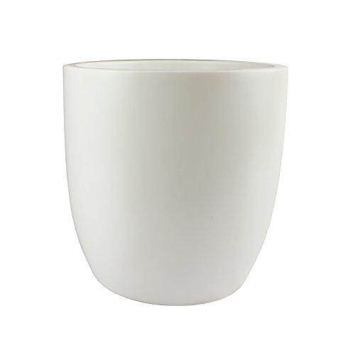 (Napa Round Cylinder Fiberglass Planter, White, 18 Inch)