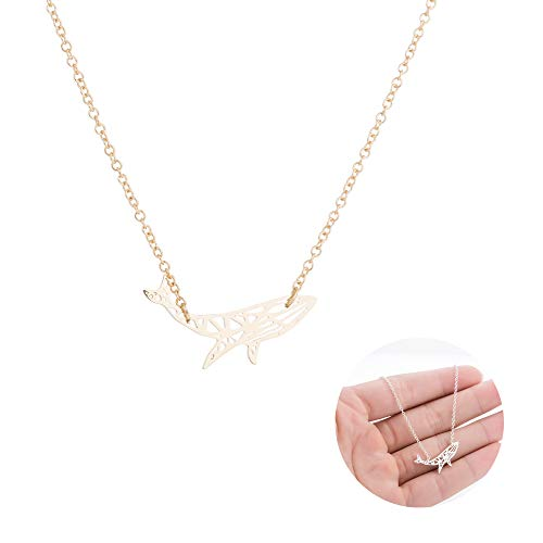 Frodete Women Dolphin Pendant Necklace Cute Whale Animal Charm Necklace for Women Girl Best Gift (Gold)