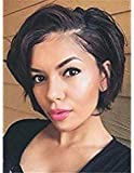 SHANELL 8A Straight Bob Style Full Lace Human Hair Wigs With Baby Hair For Black Women 130% Density Short Brazilian Human Hair Bob Wigs Side Part 8""