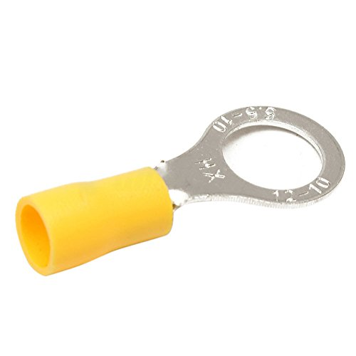 TOOGOO(R) 40 Wire Ring Terminals Vinyl Yellow 12-10 AWG 3/8 inch Car Audio Crimp Connectors (Vinyl Ring Terminals 3/8)