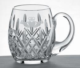 Claddagh Crystal - Galway Crystal Irish Claddagh Friendship Beer Tankard Gift