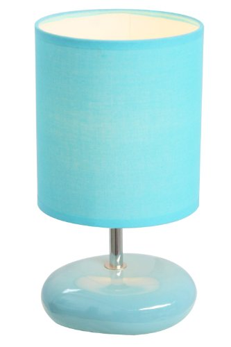 Simple Designs LT2005-BLU Stonies Small Stone Look Table Lamp, Blue
