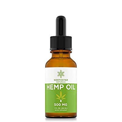 Hemp Oil for Pain & Anxiety Relief - 500mg Full Spectrum Organic Hemp Drops - Natural Hemp Oils for Better Sleep, Mood & Stress - Pure Hemp Extract - Zero THC CBD Cannabidiol - Mint Flavor by Northstar Naturals