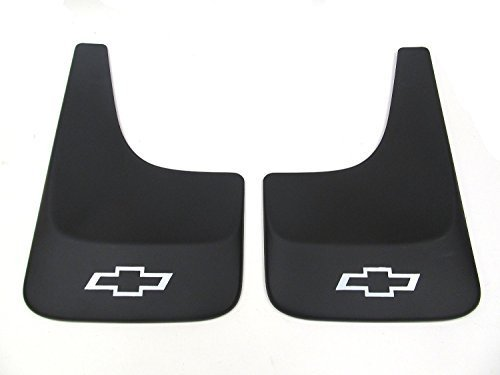 Silverado Chevy Flaps Mud (GM # 19213391 Splash Guards - Front or Rear Contoured Set - Black with Chevrolet Logo)