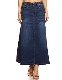 Women's Juniors Mid Rise A-Line Long Jeans Maxi Denim Skirt