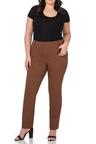Rekucci Curvy Woman Ease into Comfort Plus Size Straight Pant w/Tummy Control (18W,Chestnut) ()