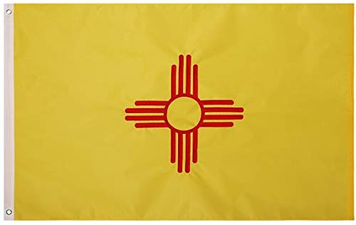 State 3x5 Feet Nylon Flag - Embroidered Oxford 210D Heavy Duty Nylon, Durable and Long Lasting - 4 Stitch Hemming. Vivid Colors & Fade Resistant. 3x5 Foot State Flag (New Mexico)