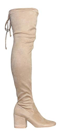 CAMSSOO Women's Fashion Square Toe Back Lace Up Thigh High Over The Knee Mid Chunky Heel Velveteen Boots Beige Velveteen Size 7 EU37