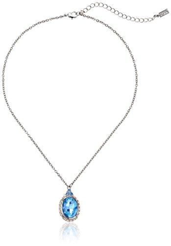Silver Tone Oval Pendant (1928 Jewelry Silver-Tone Light Blue Oval Adjustable Pendant Necklace, 16