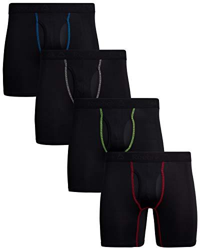 Reebok Men\'s 4 Pack Performance Boxer Briefs with Comfort Pouch (Black/Black/Black/Black