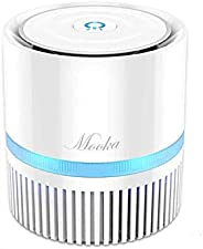 MOOKA Air Purifier for Home, 3-in-1 True HEPA Filter Air Cleaner for Bedroom and Office, Odor Eliminator for A