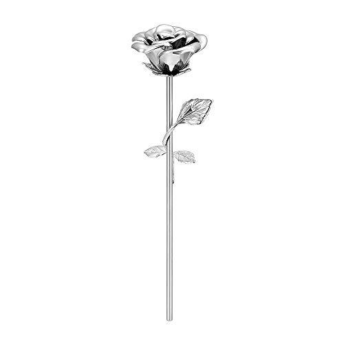 Blue Rose Cremation Urns for Ashes Holder Stainless Steel Rose Long Stem Memorial Keepsake Funeral Urn for Ashes (Silver)
