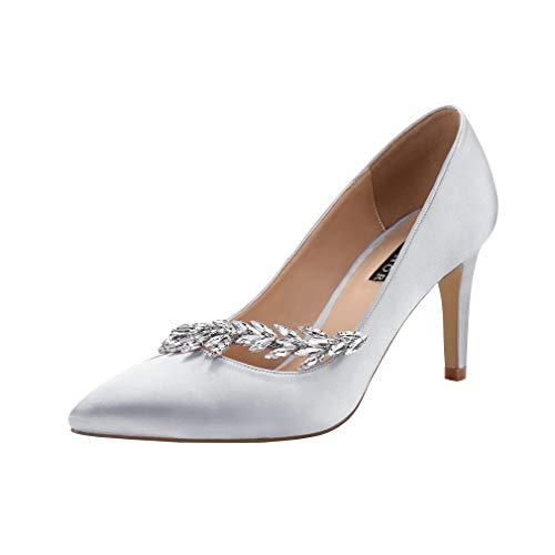 Pointed Heels Toe Dress - ERIJUNOR E0017 Pointed Toe Mid Heels Wedding Party Evening Dress Pumps for Women Women Silver Size 5