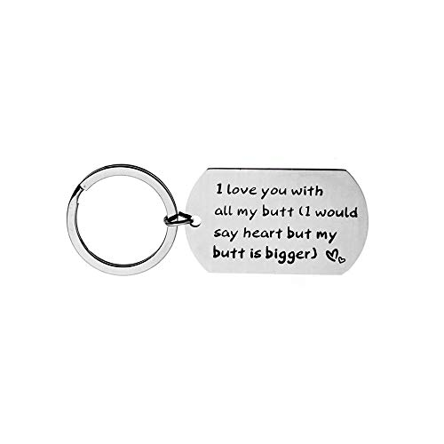 (Meiligo Fashion Valentine's Day I Love Fucking You Letter Necklace Key Chain Dog Tag Charm Pendant Couples Love Lettering Tag Necklace Jewelry (Love You with All My Butt Keychain))