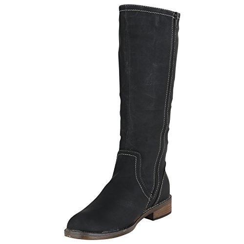 Stiefelparadies Klassische Damen Stiefel Langschaftstiefel Velours Schnallen Schuhe Blockabsatz Damenstiefel Flandell Schwarz Carlton