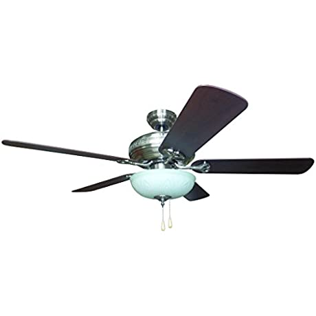 Litex E BFT52BNK5C Sandoval 52 Brushed Nickel Ceiling Fan With Five Reversible Golden Maple Mahogany Fan Blades White Frosted Glass And Single Light Kit