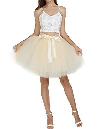 SUMMER RAIN Fashion Bauschige Sommer Tutu Tüll Röcke Damen Mini Ballett 7 Lagen Bridal Brautjungfern Ballkleid, Beige, Free Size