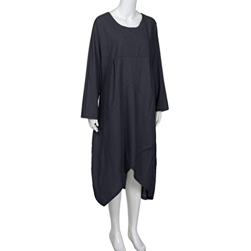 Size and VICGREY cotton retro dress linen Women's loose size Plus Nero color dress solid large jacket sleeved long long fwpqHwT