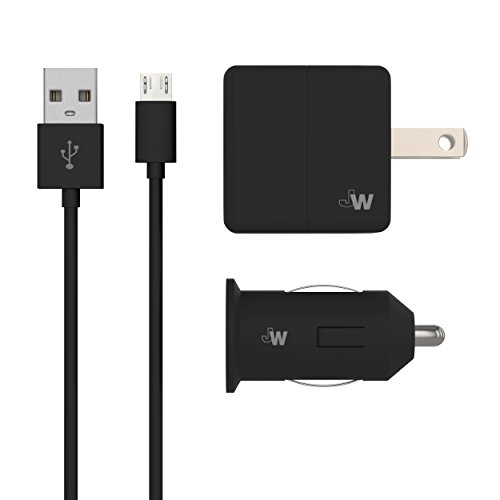 Just Wireless Wall & Car Charger Combo USB 5W/1A with Micro USB to USB Cable (5ft) for Android Smartphones and Devices (Samsung Galaxy, LG, Motorola, Nokia, HTC, Blackberry) - Black -