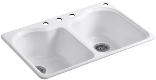 Rimming Double Bowl Self Hole (KOHLER K-5818-4-0 Hartland Self-Rimming Kitchen Sink with Four-Hole Faucet Drilling, White)