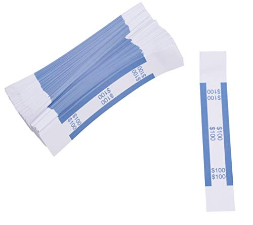 Currency Bands - 300-Count $100 Dollar Bill Wrappers, Money Bands, Currency Straps to Organize Bills, ABA Standard Colors, Self-Adhesive, Blue, 7.55 x 1.25 Inches (Currency Dollar)