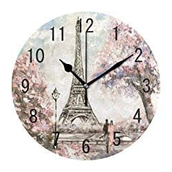 France Paris Eiffel Tower Round Wood Wall Clock for Home Decor Living Room Kitchen Bedroom Office School