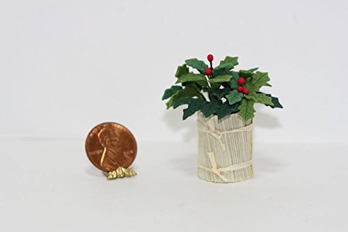 Bright Delights Dollhouse Miniature Holly in Country Planter ()