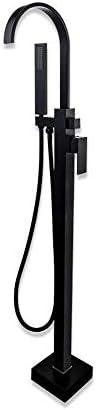 浴槽の蛇口 自立型バスタブフィラーの蛇口やハンドヘルドシャワーフロアは真鍮の浴室の浴槽をマウント キッチンバーのトイレで使用できます (Color : Black, Size : Free size)