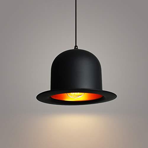 (LifeX Creative Industrial Pendant Light Rustic Loft Black Hanging Lamp Top Hat Lamp Shade Chandelier Aluminum Suspension Light Cafe Bar Restaurant E27 Base Hang Lighting (Color : Style A))