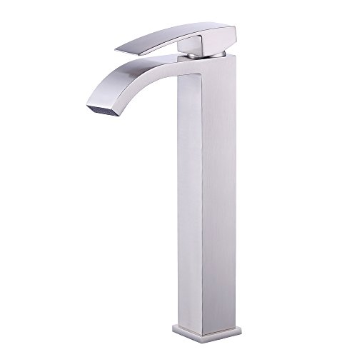KES Lead-Free Brass Bathroom Sink Faucet Single Handle Waterfall Spout for  Vessel Bowl Sink Faucet Countertop Tall Brushed Nickel, L3109B1LF-2