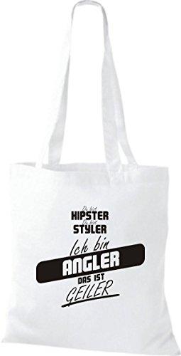 Shirtstown Stoffbeutel du bist hipster du bist styler ich bin Angler das ist geiler weiss VpDPZtKf7