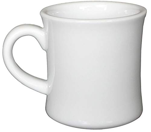 (CAC Ceramic Hartford Diner Coffee Mugs with Pan Scraper, 12 Ounce (6, Pure White))