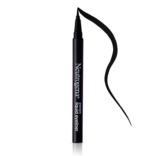 Neutrogena Precision Liquid Eyeliner with Honey & Coconut, Hypoallergenic, Smudge- & Water-Resistant Eyeliner Makeup for Precise Application, Jet Black, 0.013 fl. oz