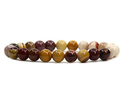 Mookaite jasper Gemstone 8mm Ball Beads Stretch Bracelet 7