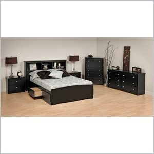 fa481d6332 Image Unavailable. Image not available for. Color: Prepac Prepac Sonoma  Black Wood Platform Storage Bed 6 Piece Bedroom Set