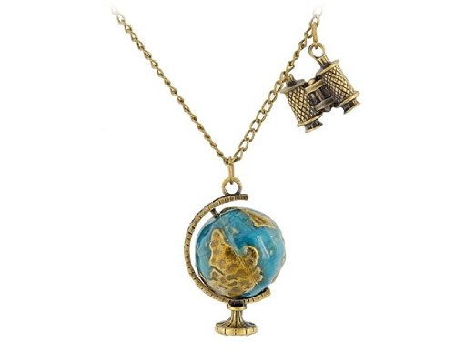Bronze Alloy Binoculars & Globe Pendant Necklace M.