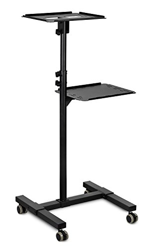 Stand Projector Table - Mount-It! Mobile Projector Stand, Rolling Height Adjustable Laptop and Projector Presentation Cart and Trolley, Black