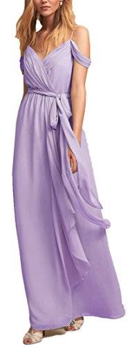 OnlyBridal Women's Sexy Off-shoulder Straps Long Chiffon Split Beach Prom Party Dress