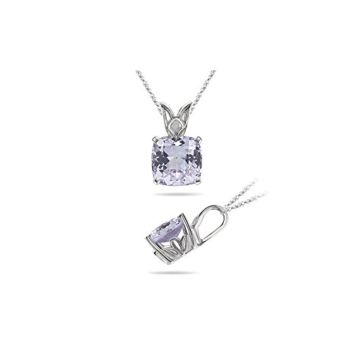 2.79 Cts of 8.4x8.4 mm AA Cushion Checker Board Kunzite Scroll Solitaire Pendant in 14K White - Kunzite White Necklace