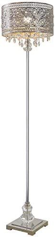 River of Goods 60.5 Inch High Polished Nickel and Crystal 1-Light Floor Lamp
