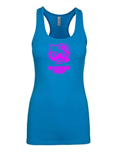 Hello Kitty Jeep Tank Top   Jeep Fan Girl Racerback Tanktop Pink Design   Womens Blue Medium